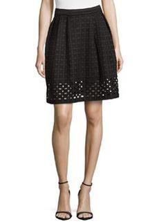 Catherine Malandrino Cutout-Hem Woven Skirt, Noir