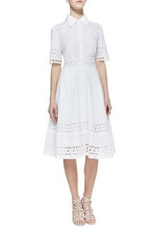 Catherine Malandrino Cutout-Trim Stretch-Cotton Shirtdress