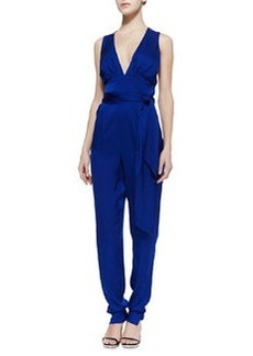 Catherine Malandrino Deep V-Neck Stretch-Silk Jumpsuit