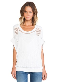 Catherine Malandrino Gabriella Oversized Wide Sleeve Pointelle Pullover in White