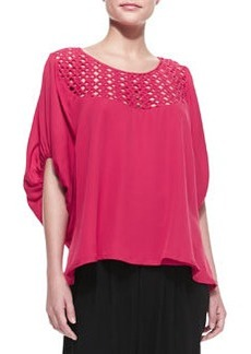 Catherine Malandrino Galena Crochet-Top Silk Blouse