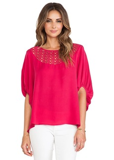 Catherine Malandrino Galena Drop Shoulder Oversized Silk Blouse in Red