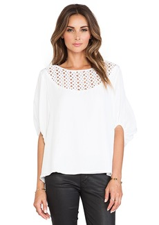 Catherine Malandrino Galena Drop Shoulder Oversized Silk Blouse in White