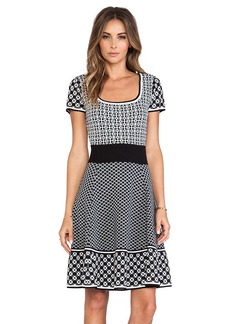 Catherine Malandrino Genevieve Fit & Flare Knit Jacquard Dress in Black & White