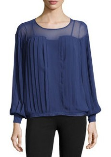 Catherine Malandrino Georgette Pleated Long-Sleeve Top, Prussian
