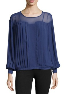 Catherine Malandrino Georgette Pleated Long-Sleeve Top