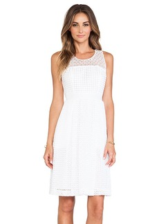 Catherine Malandrino Geri Racerback Fit & Flare Lace Dress in White