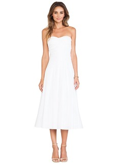 Catherine Malandrino Gia Strapless Tea Length Bustier Dress in White