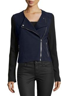 Catherine Malandrino Indigo Colorblock Ponte Moto Jacket