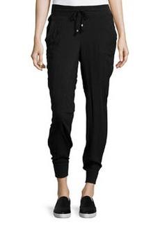 Catherine Malandrino Indigo Drawstring Twill Jogger Pants, Black