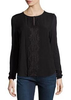 Catherine Malandrino Indigo Keyhole Lace-Front Blouse, Black