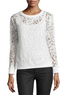 Catherine Malandrino Indigo Lace Crewneck Sweater