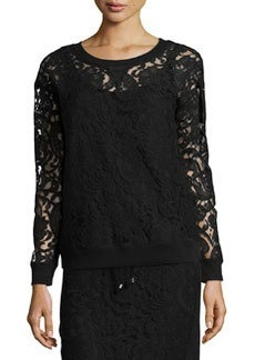 Catherine Malandrino Indigo Lace Crewneck Sweater, Black
