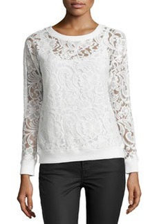 Catherine Malandrino Indigo Lace Crewneck Sweater, Cloud Dancer