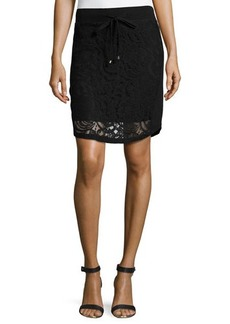 Catherine Malandrino Indigo Lace Drawstring Skirt