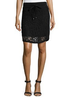 Catherine Malandrino Indigo Lace Drawstring Skirt, Black