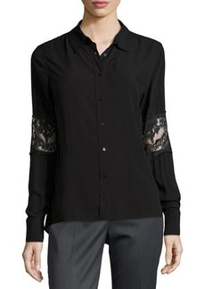 Catherine Malandrino Indigo Lace Embellished Button-Front Blouse