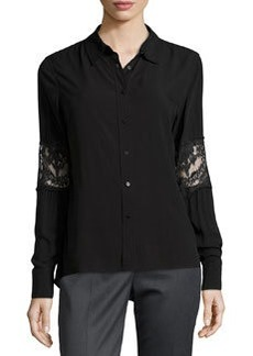 Catherine Malandrino Indigo Lace Embellished Button-Front Blouse, Black