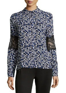 Catherine Malandrino Indigo Lace Embellished Button-Front Blouse, Blue Print