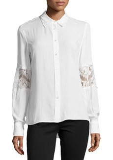 Catherine Malandrino Indigo Lace Embellished Button-Front Blouse, Marshmallow