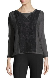Catherine Malandrino Indigo Lace Panel Sweater, Heather Gray