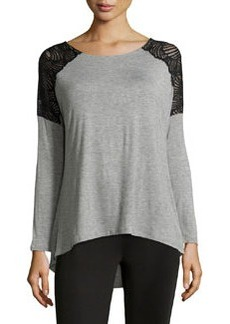 Catherine Malandrino Indigo Lace Shoulder Blouse, Heather Grey