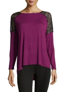 Catherine Malandrino Indigo Lace Shoulder Blouse