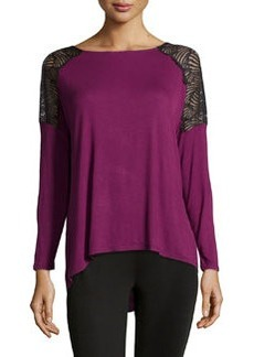 Catherine Malandrino Indigo Lace Shoulder Blouse, Magenta Purple