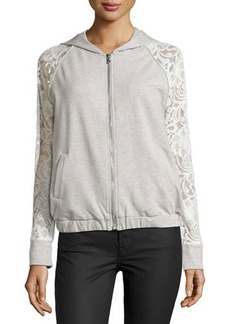 Catherine Malandrino Indigo Lace-Sleeve Hooded Jacket