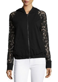 Catherine Malandrino Indigo Lace-Sleeve Hooded Jacket, Black