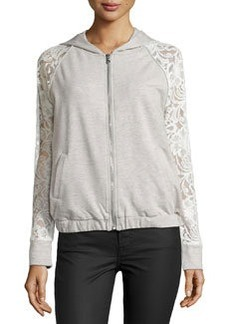 Catherine Malandrino Indigo Lace-Sleeve Hooded Jacket, Heather Grey