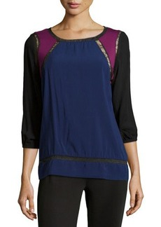 Catherine Malandrino Indigo Lace Trim Colorblock Blouse