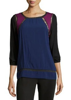 Catherine Malandrino Indigo Lace Trim Colorblock Blouse, Blue/Magenta/Black