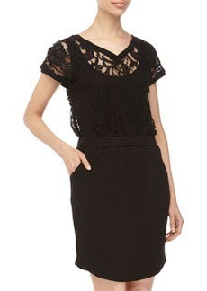 Catherine Malandrino Indigo Lace V-Neck Cap-Sleeve Dress, Black