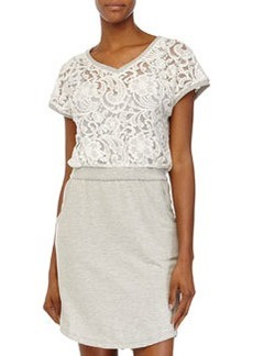 Catherine Malandrino Indigo Lace V-Neck Cap-Sleeve Dress, Heather Gray