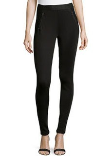 Catherine Malandrino Indigo Zippered Scuba Ponte Pants, Black