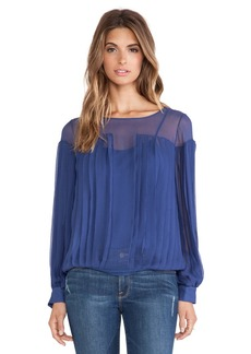 Catherine Malandrino Iona Pleated Blouse in Slate