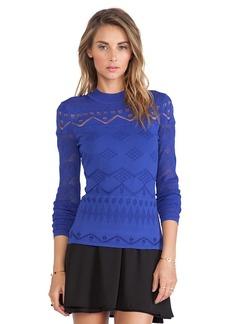 Catherine Malandrino Jackie Mock Turtleneck Sweater in Blue