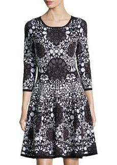Catherine Malandrino Knit Printed 3/4-Sleeve Dress, Black/Ivory