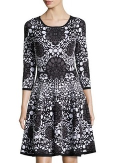 Catherine Malandrino Knit Printed 3/4-Sleeve Dress