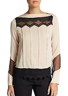 Catherine Malandrino Lace-Trimmed Stretch Silk Blouse