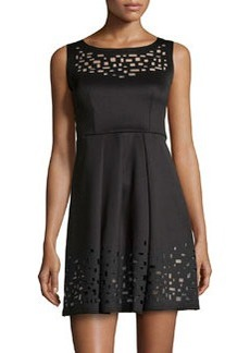 Catherine Malandrino Laser Cutout-Detail Woven Dress, Noir