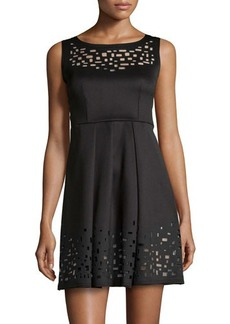 Catherine Malandrino Laser Cutout-Detail Woven Dress
