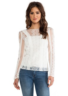 Catherine Malandrino Long Sleeve Top in White