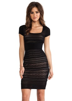 Catherine Malandrino Pointelle Shift Dress in Black