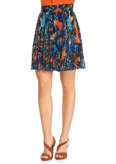 Catherine Malandrino Printed Pleated A-Line Skirt