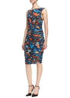 Catherine Malandrino Printed Sleeveless Ruched Jersey Dress