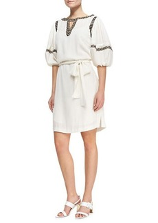 Catherine Malandrino Puff-Sleeve Shirtdress with Faux-Leather Trim