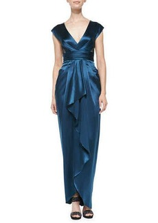 Catherine Malandrino Ruffle-Front Gown W/ Lace Back