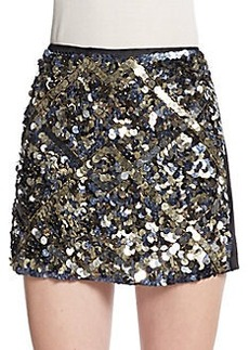 Catherine Malandrino Sequined-Front Mini Skirt